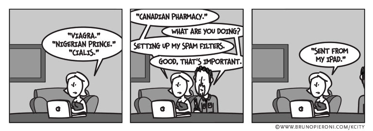 Viagra. Nigerian Prince. Cialis. Canadian Pharmacy.''What are you doing?''Setting up my spam filters.''Oh, that's good. That's important.''Sent from my iPad.